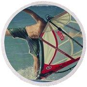 Surfing Kanaha Maui Hawaii Round Beach Towel