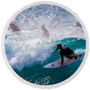 Surfing Maui Round Beach Towel