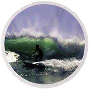 Surfing Pt. Judith Round Beach Towel