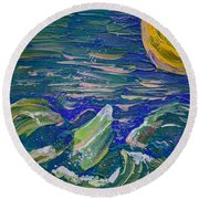 Surfing The Sun Round Beach Towel