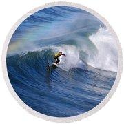 Surfing Under A Rainbow Round Beach Towel