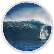 Surfing Waimea Bay Round Beach Towel