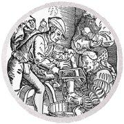 Surgeon Performing An Amputation. Woodcut From An Edition Of Hans Von Gersdoffs Feldtbuch Der Wundartzney, Strassburg, 1540 Round Beach Towel