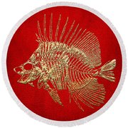 Surgeonfish Skeleton In Gold On Red  Round Beach Towel