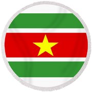 Suriname Flag Round Beach Towel