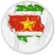 Suriname Painted Flag Map Round Beach Towel