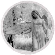 Surreal Dreamy Fantasy Infrared Angel Nature Round Beach Towel