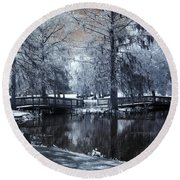 Surreal Dreamy Fantasy Nature Infrared Landscape - Edisto Park South Carolina Round Beach Towel