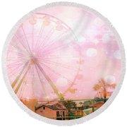 Surreal Dreamy Pink Myrtle Beach Ferris Wheel Round Beach Towel