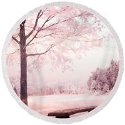 Surreal Infrared Dreamy Pink And White Park Bench Tree Nature Landscape Round Beach Towel