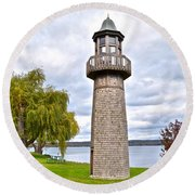 Surreal Lighthouse Round Beach Towel