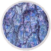 Surreal Patterned Bark In Blue Round Beach Towel
