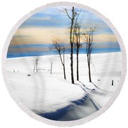 Surreal Snowscape Round Beach Towel