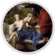 Susanna And The Elders, 1751 Round Beach Towel