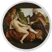 Susanna And The Elders Round Beach Towel