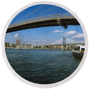Suspension Bridge Across A River Round Beach Towel by Panoramic Images