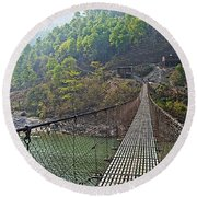 Suspension Bridge Over The Seti River In Nepal Round Beach Towel