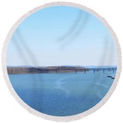 Susquehanna River And The Thomas J Hatem Bridge Round Beach Towel