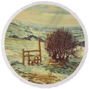 Sussex Stile, Winter, 1996 Round Beach Towel