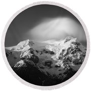 Svinafell Mountains Round Beach Towel by Dave Bowman