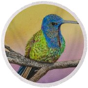 Swallow-tailed Hummingbird Round Beach Towel