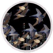 Swallows In The City Round Beach Towel