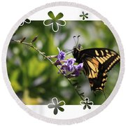 Swallowtail 4 With Flower Framing Round Beach Towel