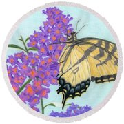 Swallowtail Butterfly And Butterfly Bush Round Beach Towel