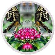 Swallowtail Butterfly Digital Art Round Beach Towel