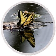 Swallowtail - Butterfly - Reflections Round Beach Towel