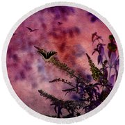 Swallowtail In The Butterfly Bush - Featured In The Wildlife And Comfortable Art And Newbies Groups Round Beach Towel