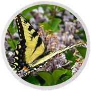 Swallowtail On Lilacs Round Beach Towel