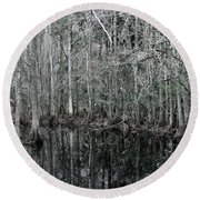 Swamp Greens Round Beach Towel