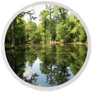 Swampland Reflection At The Plantation Round Beach Towel