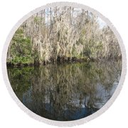 Bold Cypress Reflection Round Beach Towel