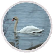 Swan A Swimming Round Beach Towel