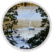 Swan And Ducks Through Trees Round Beach Towel