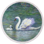 Swan And One Baby Round Beach Towel