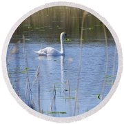 Swan At Derryallen Lough Round Beach Towel
