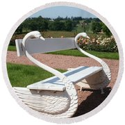 Swan Bench Round Beach Towel