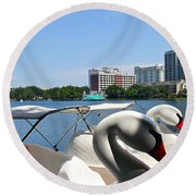 Swan Boats And Buildings Round Beach Towel