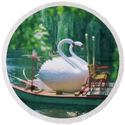 Swan Boats In A Lake, Boston Common Round Beach Towel