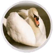 Swan Cameo In Sepia Round Beach Towel