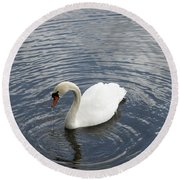 Swan Circles Round Beach Towel