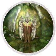 Swan Goddess Round Beach Towel