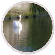 Swan In The Canal Round Beach Towel