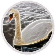 Swan In The Water Fractal Round Beach Towel