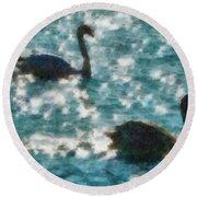 Swan Lake Round Beach Towel by Ayse Deniz