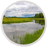 Swan Lake In Grand Teton National Park-wyoming  Round Beach Towel