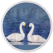Swan Love Round Beach Towel